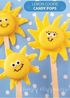 Add a little sunshine to your day with these cute lollipops! They're made with a sweet candy coating and delicious lemon cookies for a quick and easy recipe you and your kids can make and snack on on a summer day.