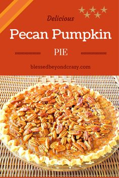Pecan Pumpkin Pie Recipe: refrigerated pie crust, flour, canned pumpkin (not pumpkin pie mix), egg, half and half, sugar, pumpkin pie spice, light or dark corn syrup, eggs, butter, brown sugar, vanilla and pecans. †▼▼†