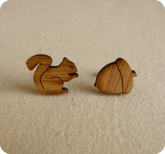 "0.47 inches (1.2 cm) in length with surgical steel studs (to protect sensitive ears).  ♥ The edges of the earrings are ""burnt"" to give contrast to the lovely grained bamboo.  ♥ These earrings would belong to a cute girl who loves sweet animals.  Squirrel and nut stud earrings"