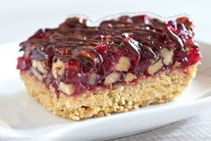 cranberry turtle bars, gooey caramel, pecans & chocolate on a ...