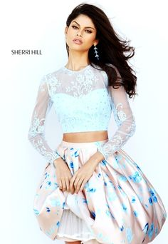 Check out the deal on Sherri Hill 50764 Long Sleeve Short Party Dress at French Novelty 2016 Homecoming Dresses, Sherri Hill Prom Dresses, Cute Prom Dresses, Dressy Dresses, Prom Gowns, Pageant Dresses, Dress Formal, Long Sleeve Short Dress, Short Lace Dress