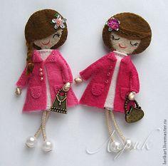 """Купить Брошь """"Девочка"""" - фетр, брошь, брошка, оригинальное украшение, для девочки, подарок для девочки, фетр"""