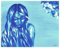 Geometric girl. Depression, mental illness, sad, sadness