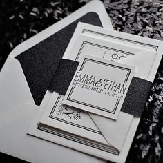 black and white wedding invitations, glitter wedding invitations, invitations with belly bands, eat drink and be married