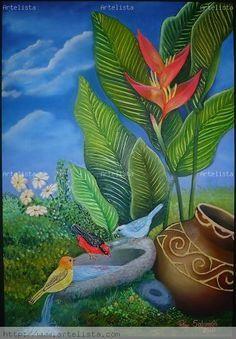 Flower Frame, Flower Art, Modern Indian Art, Mexican Art, Flower Pictures, Tropical Flowers, Bird Art, Canvas Art Prints, Art Boards