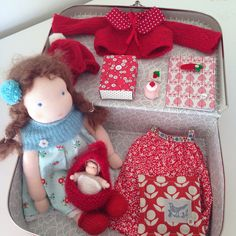 Big suitcase doll 30cm made by Else Besjes