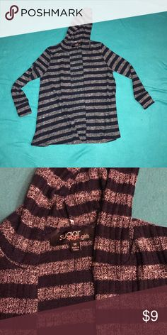 NWOT girls size M hooded sweater NWOT girls navy blue and gray striped hooded sweater. Size medium. sugar rush girls Shirts & Tops Sweaters