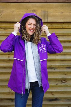 Monograms, the Southern staple. Shirt - Target // Gray vest - Charles River Apparel Heathered vest c/o // Raincoat - Charles River Apparel New England Raincoat c/o Raincoats For Women, Jackets For Women, Cheap Rain Jackets, Southern Fashion, Charles River, Rain Jacket Women, Grey Vest, Monogram Styles, Pattern Mixing