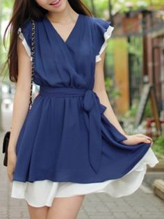 Bowknot Belt Awesome Surplice Chiffon Assorted Color Skater-dress