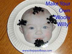 """Make your own """"wooly willy"""" using paper plates, pictures of your kids, plastic, fuzzy craft sticks and magnets.  My kids have been playing with these for hours!  www.thejoysofboys.com"""