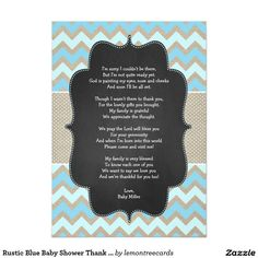 Custom Baby Shower Thank you notes with poem, save your time and energy for the new baby boy!
