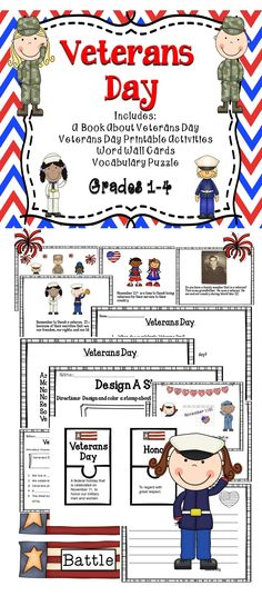 A Veterans Day activity book for the classroom. - includes reading comprehension, vocabulary, and more. #tpt #veteransday #teaching