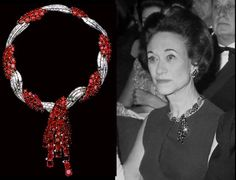 """Instagram photo taken by Andrew Prince Jewellery - The Duchess of Windsor wearing her Cartier ruby starburst earrings and the superb ruby and diamond tassel twist necklace from Van Cleef & Arpels, after a design by Rene Sim Lacaze. It was a 40th birthday gift from the Duke, and he inscribed on the clasp """"My Wallis from her David,19.IV.1936"""". When it came up for auction in 1987, the style, thought to be a little later than the inscription caused some confusion. It was discovered that the…"""