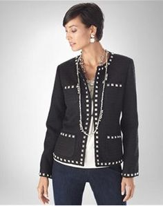 """Have you ever looked into your closet and went """"blech"""".same old stuff, different day, and wanted to go to the mall (or wherever) and buy something new, something that makes you feel gr… Chico Clothing, Fall Outfits, Fashion Outfits, Blazer Jacket, Casual, Sweaters, Jackets, Shopping, Tops"""