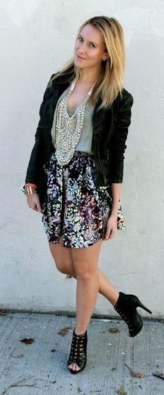 Floral skirt, leather jacket, statement necklace  FootprintsInTheCity.com