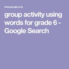 group activity using words for grade 6 - Google Search