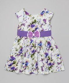 Look what I found on #zulily! Purple Floral Bow Dress - Toddler & Girls #zulilyfinds