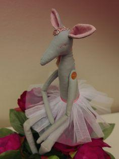horse ballet dancer, animal softie doll for my niece in grey, pink and white, tilda reindeer pattern