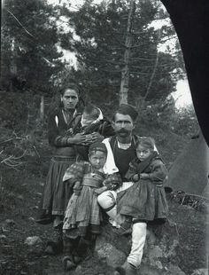 A family from the mountains of Kolonja, Albania (photo: Dhimitër Vangjeli). Albanian People, Macedonia, My People, Love Art, Traditional Outfits, Vintage Men, Egypt, Beautiful People, Greece