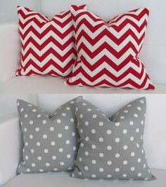 Four Red and Gray Throw Pillow Covers Chevron and by skoopehome, $70.00