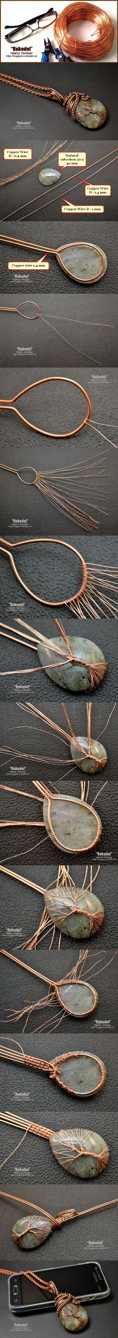 Simple wire wrap tree tutorial - I& struggling with stones / cabins . - Simple wire wrap tree tutorial – I& struggling with stones / cabins … - Bijoux Wire Wrap, Bijoux Diy, Wire Wrapped Jewelry, Beaded Jewelry, Handmade Jewelry, Wire Wrapped Stones, Handmade Copper, Wire Wrapped Pendant, Boho Jewelry