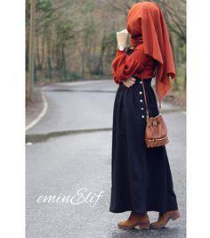 Pinterest: @adarkurdish Islamic Fashion, Muslim Fashion, Modest Fashion, Hijab Fashion, Mode Hijab, Muslim Women, Beautiful People, High Waisted Skirt, Stylish