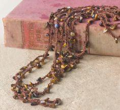 Tigereye Stone Chip Strand Necklace  Beach Jewelry   by beadedwire