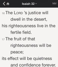 Isaiah 32:16-17 (NIV)