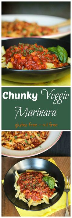 Chunky Veggie Marinara - an easy marinara sauce loaded with chopped summer vegetables. Kids and adults alike gobble this up! Serve it over noodles, rice, baked potato, etc. Yum!! #vegan #pasta #marinarasauce #glutenfree #oilfree #veggies #redsauce