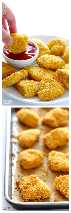 Parmesan Baked Chicken Nuggets by gimmesomeoven: Crispy on the outside, tender on the inside, and SO tasty! #Chicken_Nuggets #Parmesan