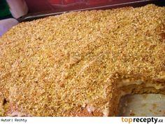 Marlenka jednoduchá, výborná--Suroviny:  Těsto: 250 g másla 300 g krystal. cukru 400 g hladké mouky 3 polévkové lžice medu 2 čajové lžičky sody 100 ml mléka 3 vejce Krém : 500 ml mléka 2 polévkové lžice kryst. cukru 6 polévkových lžic dětské krupice 200 g másla 1 Salko Posyp : 100 g ořechů zbytky těsta