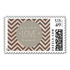 Faith Hope and Love Circle Chevron Wedding Stamp