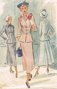 1940s Two Piece Dress McCall 7697 Peplum Fitted by JFerrariDesigns,