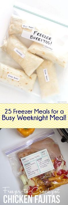 25 Freezer Meals for Busy Weeknights — Lots of great breakfast ideas too! Spen… 25 Freezer Meals for Busy Weeknights — Lots of great breakfast ideas too! Spend a few hours cooking eat for two weeks! Make Ahead Freezer Meals, Crock Pot Freezer, Freezer Cooking, Cooking Recipes, Freezer Recipes, Freezable Meals, Cooking Tips, Bulk Cooking, Crockpot Meals