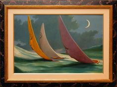 THE REGATTA Wind,push me far away.Oil on canvas panel 40 x 60 cm x 1 cm depth.-48.50 x 79 cm x 4 cm depth FRAMED Handpainted Frame, by myself. One of a kind Professional insured packaging and shipping. FOR SALE >>>> https://www.artfinder.com/product/the-regatta-85c8/