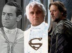 Nelson Leigh em 'Superman', Marlon Brando em 'Superman' e Russell Crowe em 'O homem de aço' (Foto: Divulgação)