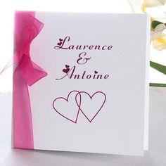 la vie en rose faire part de mariage coeur original ruban romantique JM109