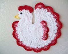 Gallo pollo gallina presina paese cucina Decor uncinetto presina in cotone caldo Pad Table Decor Housewarming Regalo