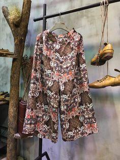 Over 50 Style Flowers Print Wide Leg Pants Linen Palazzo Pants    #pants #linen #flowers #wideleg #amazing #fashion #summer #vintage #trousers