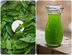 basil infused oil Collage