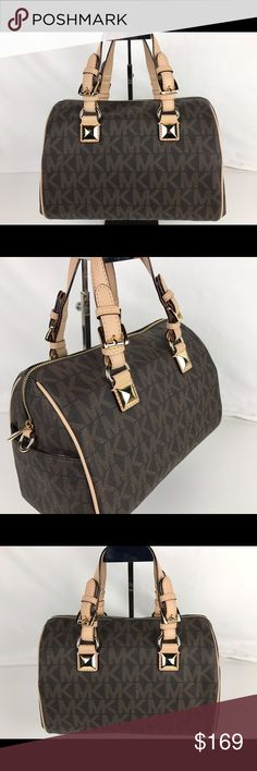 """Michael Kors Grayson Monogram Medium Satchel Condition: New without tag. Never used, brand new condition. Optional crossbody strap not included.  Michael Kors Satchel. PVC and Leather, double handles with 4"""" drop, top zip closure, gold-tone hardware with signature pattern and signature charm. 12""""W x 9 1/2"""" H x 6 1/2"""" D. Style 30F2GGCS2B. Our bag # RB287  Thank you for your interest!  PLEASE - NO TRADES / NO LOW BALL OFFERS Michael Kors Bags Satchels"""