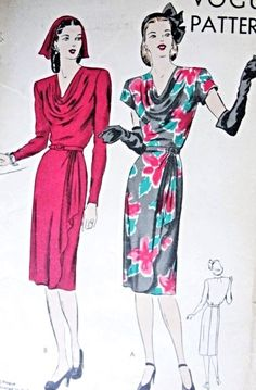 1940s Beautiful Slim Dress Pattern Draped Overskirt, Stunning Posh Bias Cowl Neckline Perfect Cocktail Dinner Dress Vogue 5282 Vintage Sewing Pattern FACTORY FOLDED Bust 30 Easy To Make