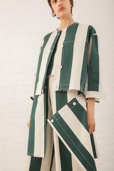 Wide Stripe Jacket in Green | Oroboro Store | New York, NY