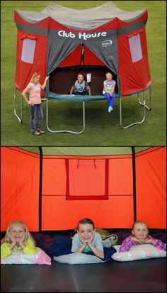 http://amzn.to/1T87iwI Got a trampoline? Now you can also give the kids an instant club house with this Club House Trampoline Cover! It is a one-piece, weather-resistant cover that fits all Kinetic and Propel 12' trampolines with six enclosure poles. It has a zippered entrance and three screened windows with adjustable covers for good ventilation. Your kids will love this awesome tent for trampolines. They can stay safe inside, even when it's raining!