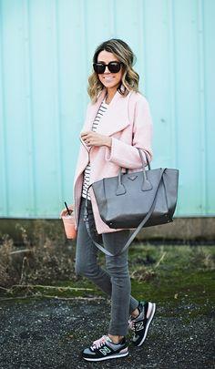 Pale pink coat | Grey Prada | Striped Boyfriend Tee | Grey Denim | Black & Pink Sneakers