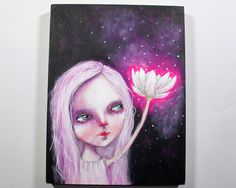 folk art Original magical girl painting whimsical lotus flower mixed media art painting on wood canvas 8x6 inches - Energy flows