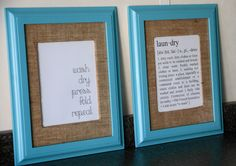 Simply Klassic Home: A Laundry Room Project and Free Printables. DIY mat when frame doesn't include one.