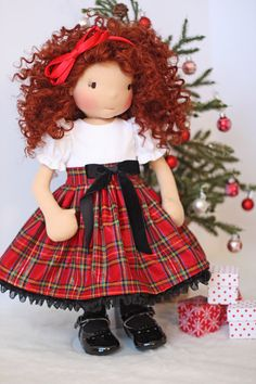 Christmas Plaid Dress for 18 inch dolls by Olabelhe on Etsy