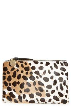 'Core' Leopard Print Genuine Calf Hair Pouch