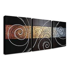 Hand-painted Abstract Oil Painting with Stretched Frame - Set of 3 - Free… Multi Canvas Painting, Abstract Canvas Art, Diy Canvas Art, Oil Painting Abstract, Acrylic Art, Glue Art, Paintings I Love, Stencil Painting, Hanging Wall Art